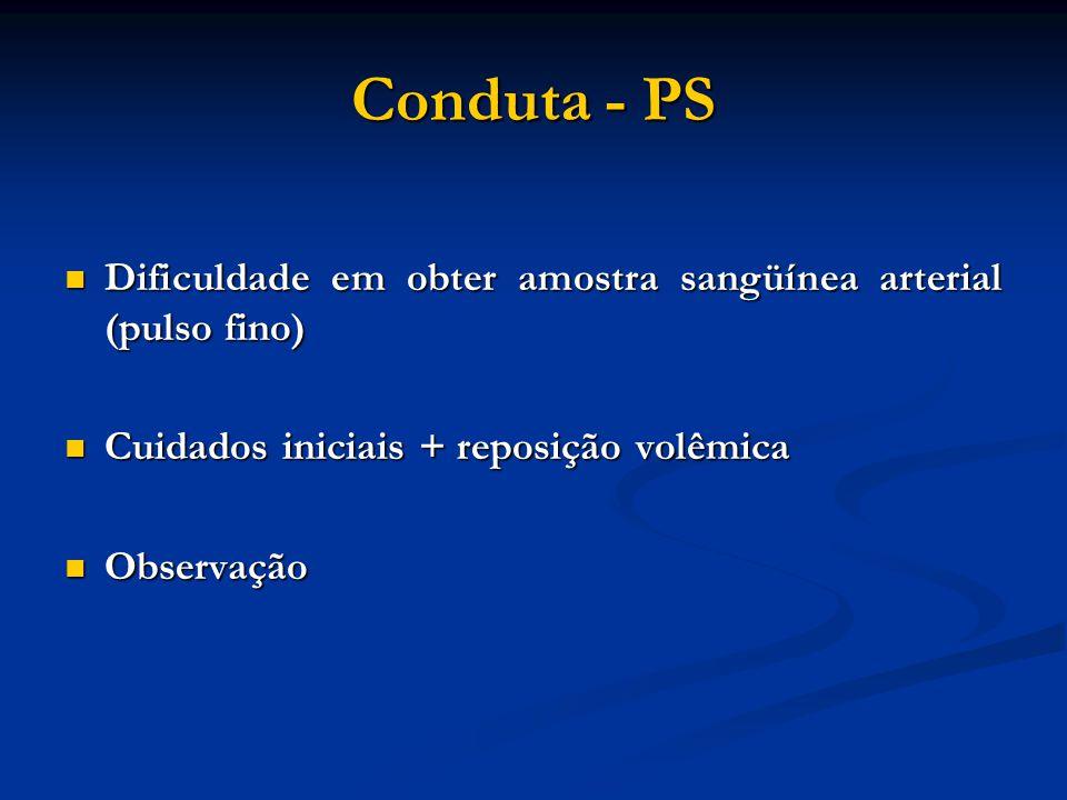 Conduta - PS Dificuldade em obter amostra sangüínea arterial (pulso fino) Dificuldade em obter amostra sangüínea arterial (pulso fino) Cuidados inicia