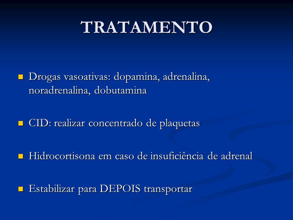TRATAMENTO Drogas vasoativas: dopamina, adrenalina, noradrenalina, dobutamina Drogas vasoativas: dopamina, adrenalina, noradrenalina, dobutamina CID: