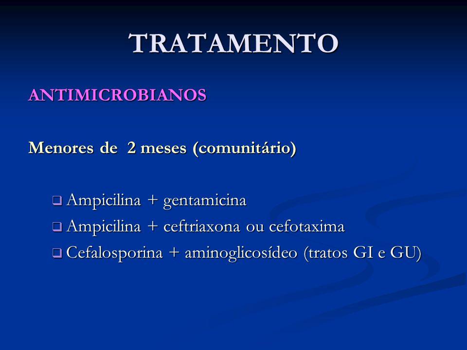 TRATAMENTO ANTIMICROBIANOS Menores de 2 meses (comunitário)  Ampicilina + gentamicina  Ampicilina + ceftriaxona ou cefotaxima  Cefalosporina + amin