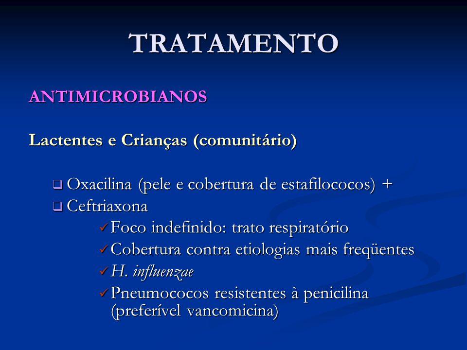 TRATAMENTO ANTIMICROBIANOS Lactentes e Crianças (comunitário)  Oxacilina (pele e cobertura de estafilococos) +  Ceftriaxona Foco indefinido: trato r
