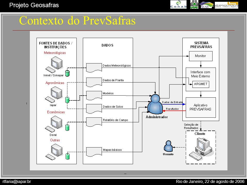 rtfaria@iapar.br Rio de Janeiro, 22 de agosto de 2006 Projeto Geosafras Contexto do PrevSafras