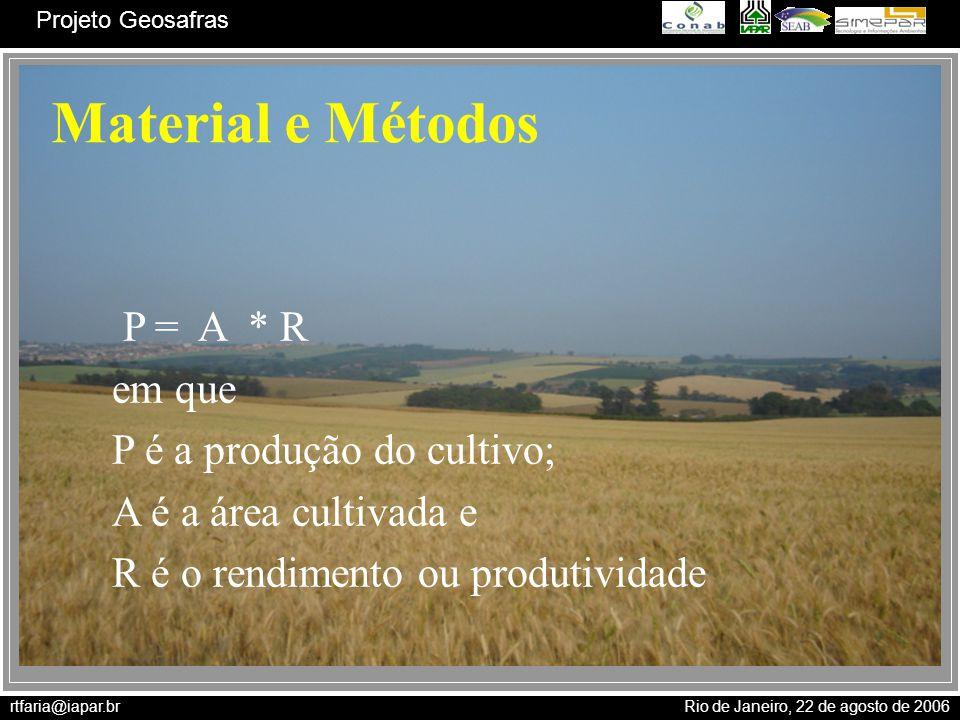 rtfaria@iapar.br Rio de Janeiro, 22 de agosto de 2006 Projeto Geosafras Material e Métodos P = A * R em que P é a produção do cultivo; A é a área cult