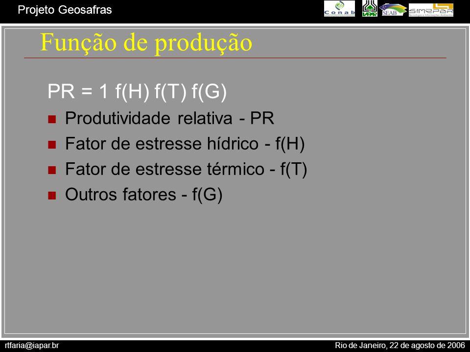 rtfaria@iapar.br Rio de Janeiro, 22 de agosto de 2006 Projeto Geosafras Função de produção PR = 1 f(H) f(T) f(G) Produtividade relativa - PR Fator de