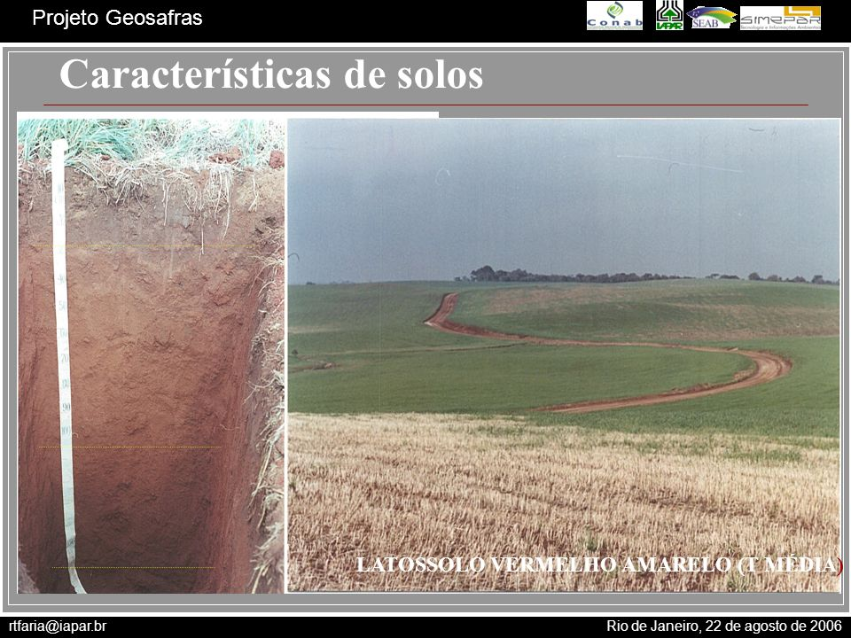 rtfaria@iapar.br Rio de Janeiro, 22 de agosto de 2006 Projeto Geosafras Características de solos LATOSSOLO VERMELHO AMARELO (T MÉDIA)
