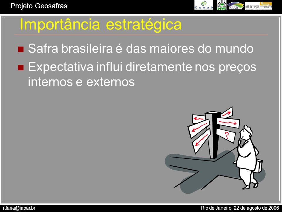 rtfaria@iapar.br Rio de Janeiro, 22 de agosto de 2006 Projeto Geosafras Material e Métodos P = A * R em que P é a produção do cultivo; A é a área cultivada e R é o rendimento ou produtividade