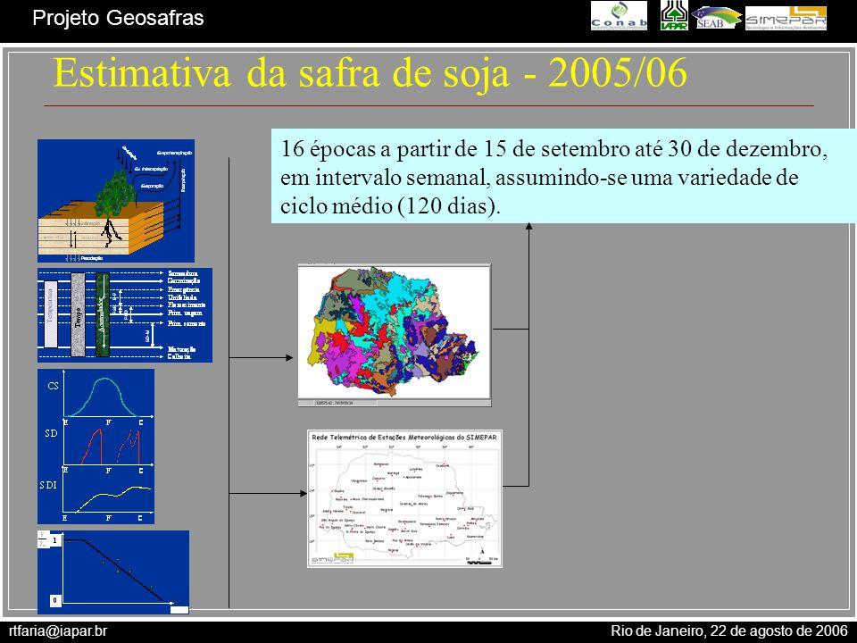 rtfaria@iapar.br Rio de Janeiro, 22 de agosto de 2006 Projeto Geosafras Estimativa da safra de soja - 2005/06 16 épocas a partir de 15 de setembro até