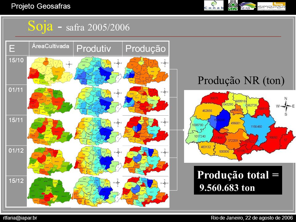 rtfaria@iapar.br Rio de Janeiro, 22 de agosto de 2006 Projeto Geosafras E ÁreaCultivada ProdutivProdução 15/10 01/11 15/11 01/12 15/12 Produção NR (to