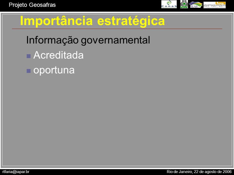 rtfaria@iapar.br Rio de Janeiro, 22 de agosto de 2006 Projeto Geosafras E ÁreaCultivada ProdutivProdução 15/10 01/11 15/11 01/12 15/12 Produção NR (ton) Produção total = 9.560.683 ton Soja - safra 2005/2006
