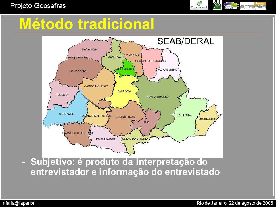 rtfaria@iapar.br Rio de Janeiro, 22 de agosto de 2006 Projeto Geosafras Função de produção PR = 1 f(H) f(T) f(G) Produtividade relativa - PR Fator de estresse hídrico - f(H) Fator de estresse térmico - f(T) Outros fatores - f(G)