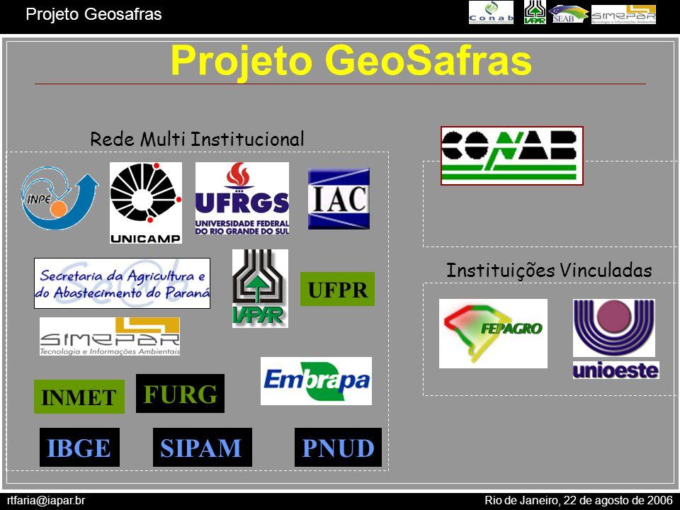 rtfaria@iapar.br Rio de Janeiro, 22 de agosto de 2006 Projeto Geosafras Projeto GeoSafras Rede Multi Institucional Instituições Vinculadas Coordenação