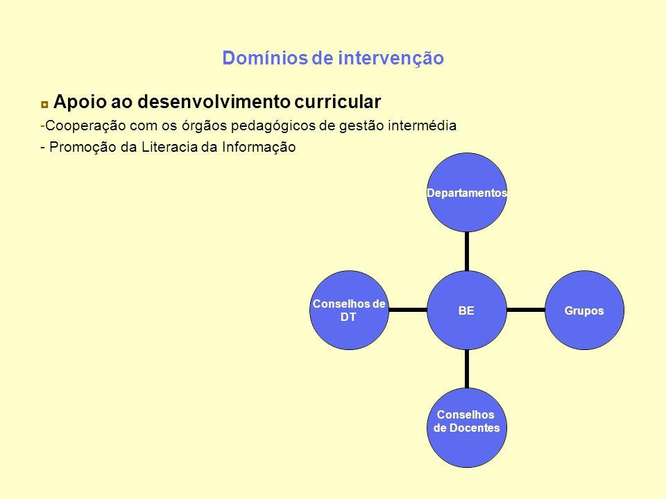 Domínios de intervenção ◘ Apoio ao desenvolvimento curricular -Cooperação com os órgãos pedagógicos de gestão intermédia - Promoção da Literacia da In