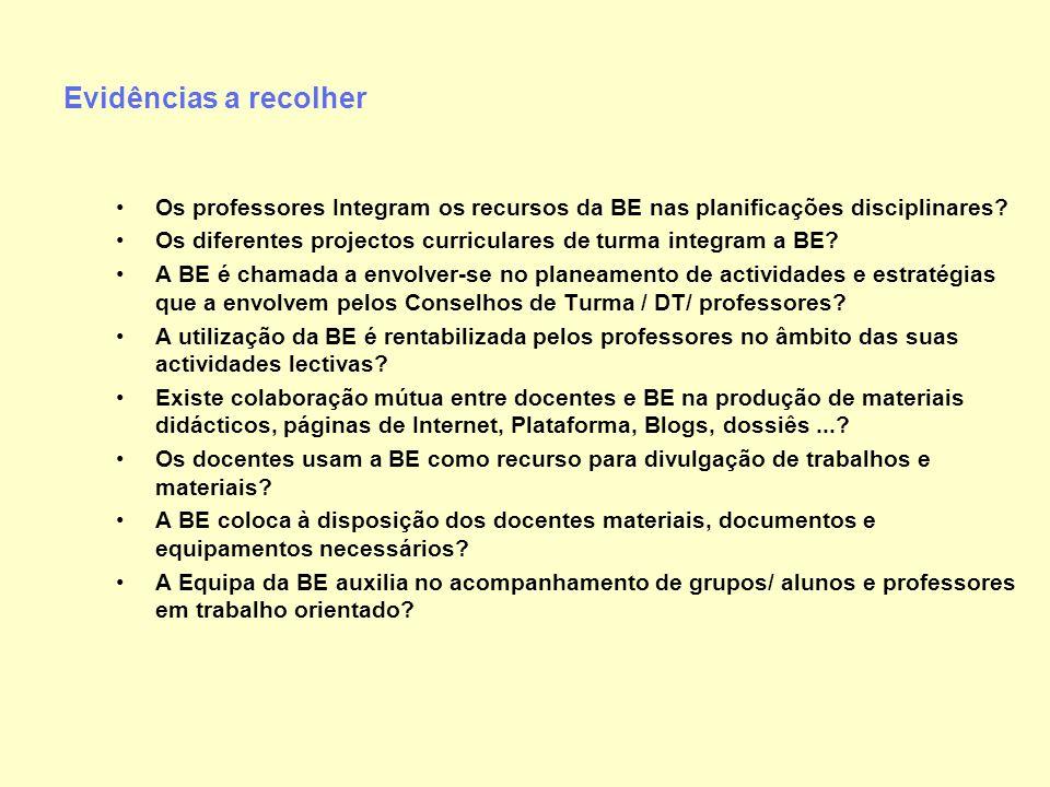 Evidências a recolher Os professores Integram os recursos da BE nas planificações disciplinares? Os diferentes projectos curriculares de turma integra