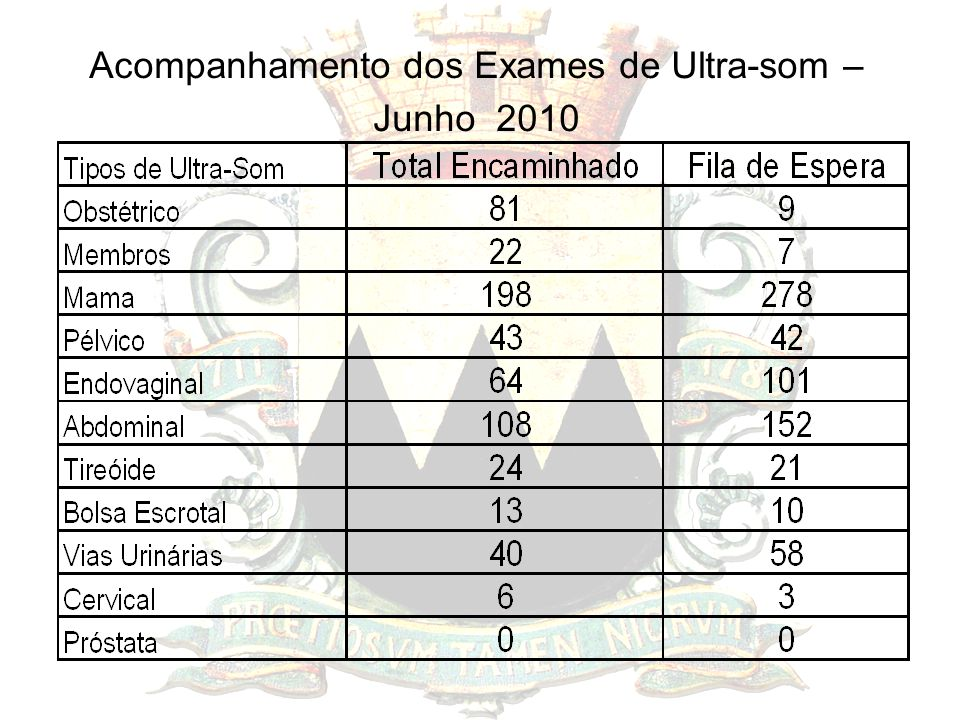 Acompanhamento dos Exames de Ultra-som – Junho 2010