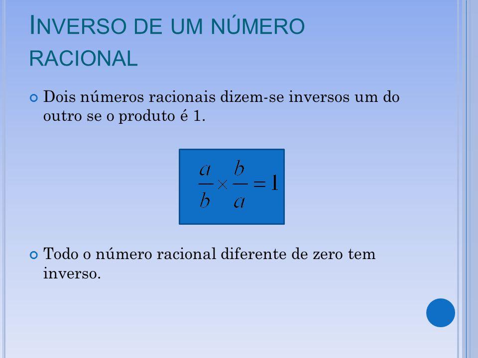 I NVERSO DE UM NÚMERO RACIONAL Dois números racionais dizem-se inversos um do outro se o produto é 1. Todo o número racional diferente de zero tem inv