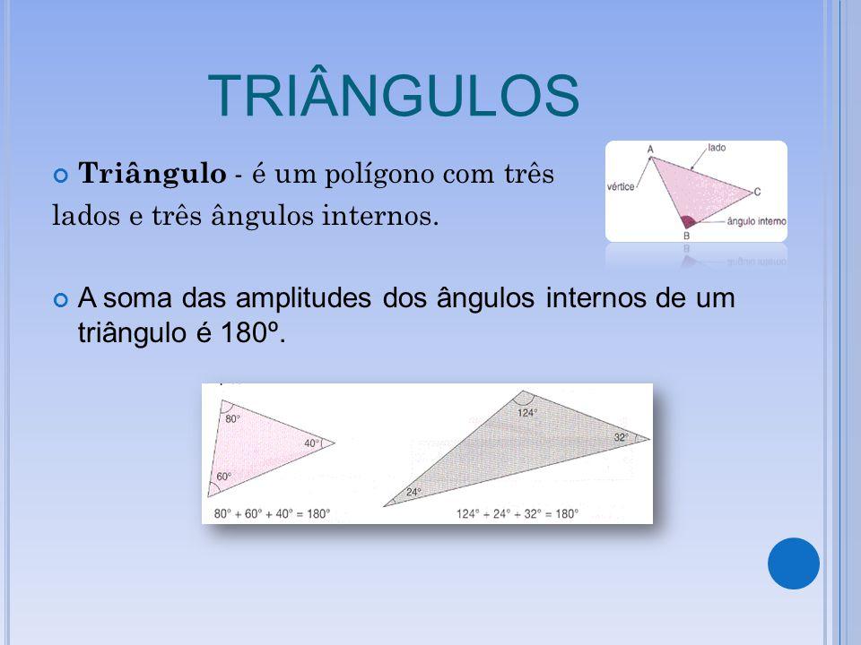 TRIÂNGULOS Triângulo - é um polígono com três lados e três ângulos internos. A soma das amplitudes dos ângulos internos de um triângulo é 180º.