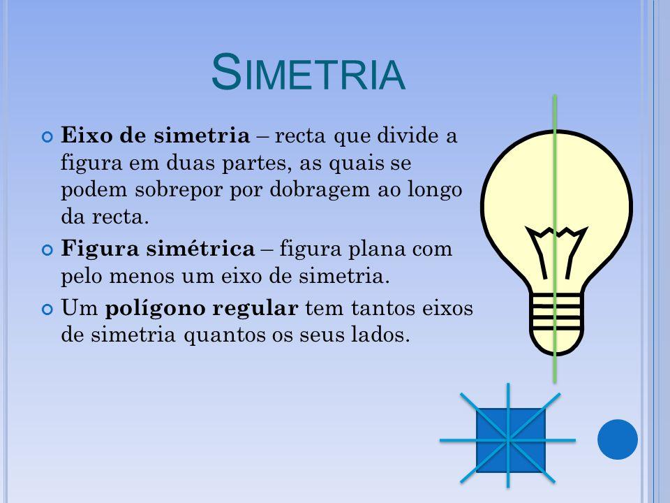 S IMETRIA Eixo de simetria – recta que divide a figura em duas partes, as quais se podem sobrepor por dobragem ao longo da recta. Figura simétrica – f