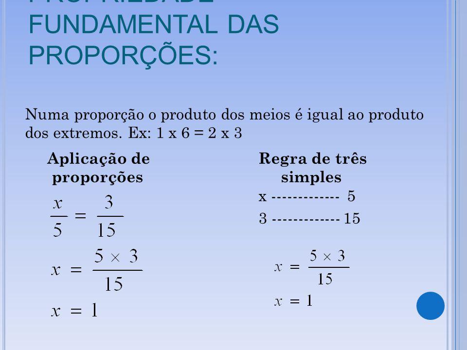PROPRIEDADE FUNDAMENTAL DAS PROPORÇÕES: Numa proporção o produto dos meios é igual ao produto dos extremos. Ex: 1 x 6 = 2 x 3 Aplicação de Regra de tr
