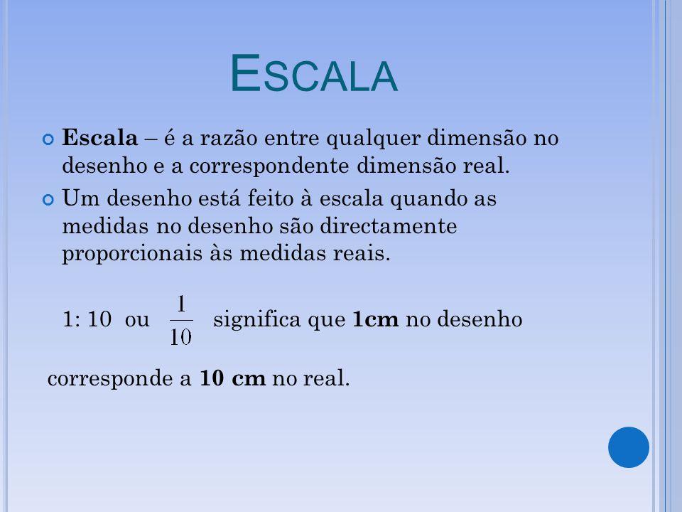 E SCALA Escala – é a razão entre qualquer dimensão no desenho e a correspondente dimensão real. Um desenho está feito à escala quando as medidas no de
