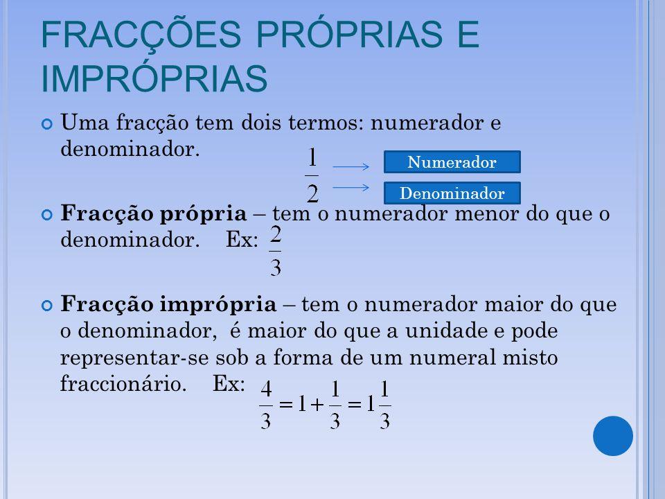 FRACÇÕES PRÓPRIAS E IMPRÓPRIAS Uma fracção tem dois termos: numerador e denominador. Fracção própria – tem o numerador menor do que o denominador. Ex: