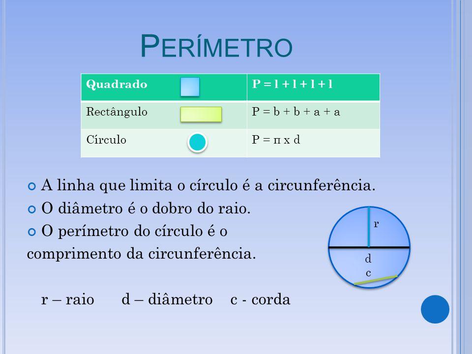 P ERÍMETRO A linha que limita o círculo é a circunferência.