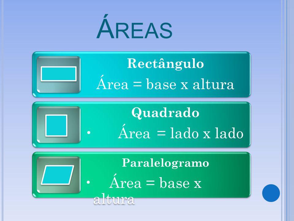 Á REAS Rectângulo Área = base x altura Quadrado Área = lado x lado Paralelogramo Área = base x altura
