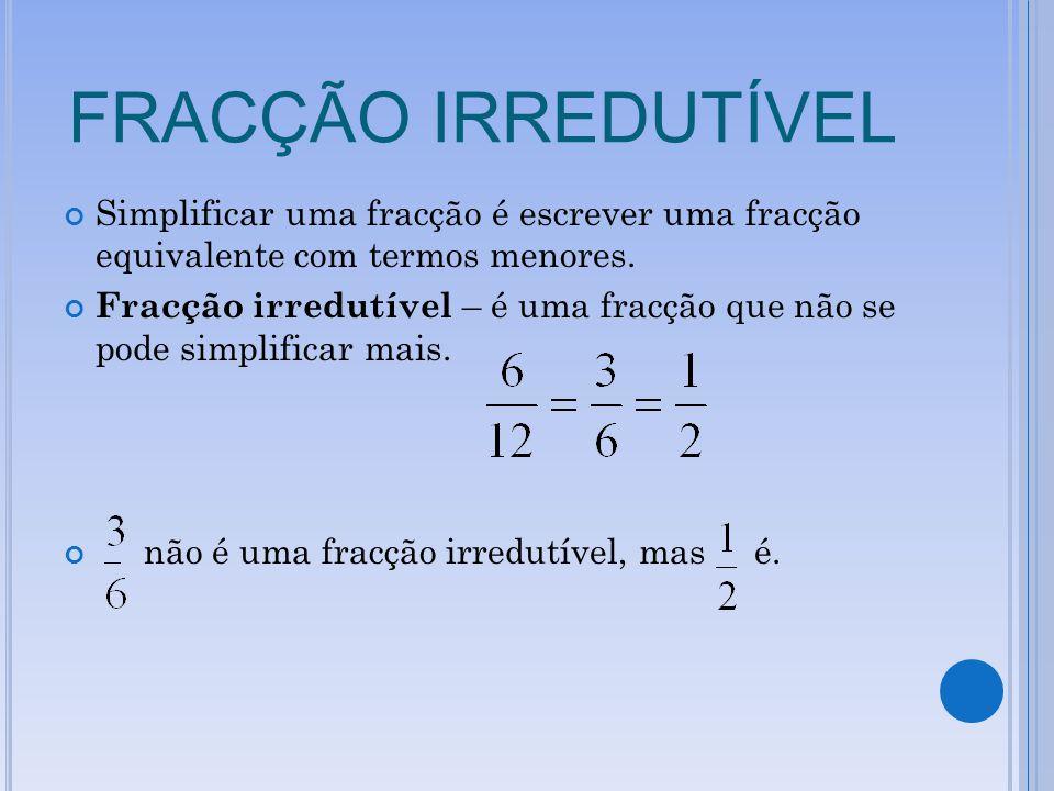 FRACÇÃO IRREDUTÍVEL Simplificar uma fracção é escrever uma fracção equivalente com termos menores. Fracção irredutível – é uma fracção que não se pode