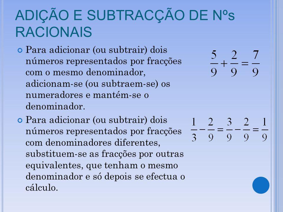 ADIÇÃO E SUBTRACÇÃO DE Nºs RACIONAIS Para adicionar (ou subtrair) dois números representados por fracções com o mesmo denominador, adicionam-se (ou subtraem-se) os numeradores e mantém-se o denominador.