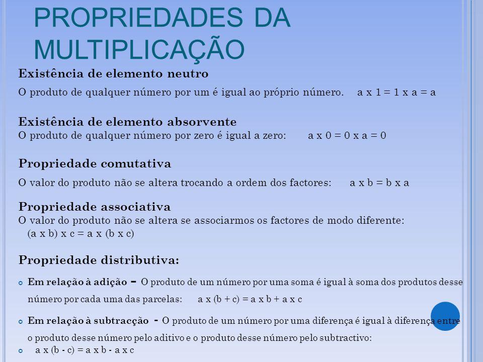PROPRIEDADES DA MULTIPLICAÇÃO Existência de elemento neutro O produto de qualquer número por um é igual ao próprio número. a x 1 = 1 x a = a Existênci