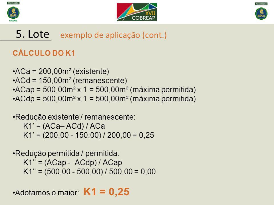 CÁLCULO DO K1 ACa = 200,00m² (existente) ACd = 150,00m² (remanescente) ACap = 500,00m² x 1 = 500,00m² (máxima permitida) ACdp = 500,00m² x 1 = 500,00m