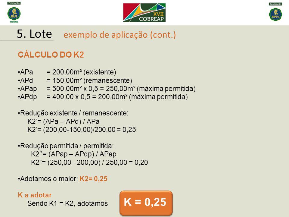 CÁLCULO DO K2 APa= 200,00m² (existente) APd= 150,00m² (remanescente) APap= 500,00m² x 0,5 = 250,00m² (máxima permitida) APdp= 400,00 x 0,5 = 200,00m²