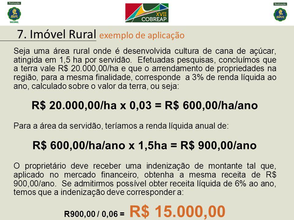 Seja uma área rural onde é desenvolvida cultura de cana de açúcar, atingida em 1,5 ha por servidão. Efetuadas pesquisas, concluímos que a terra vale R