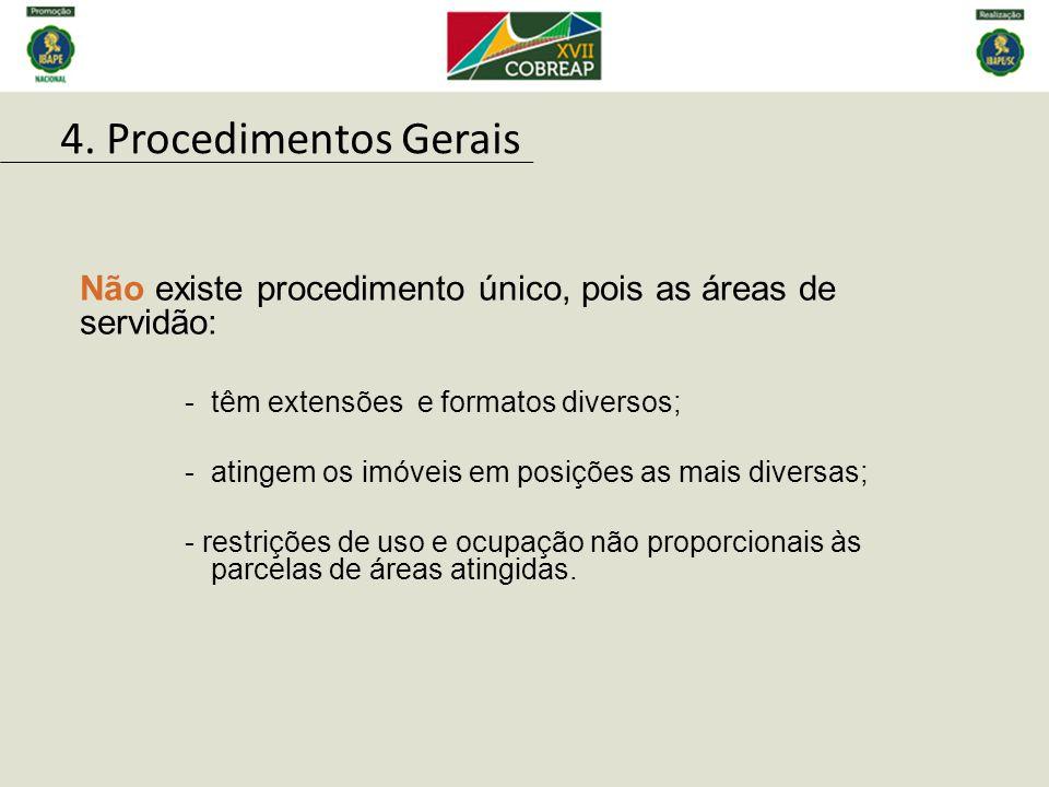 Não existe procedimento único, pois as áreas de servidão: -têm extensões e formatos diversos; -atingem os imóveis em posições as mais diversas; - rest