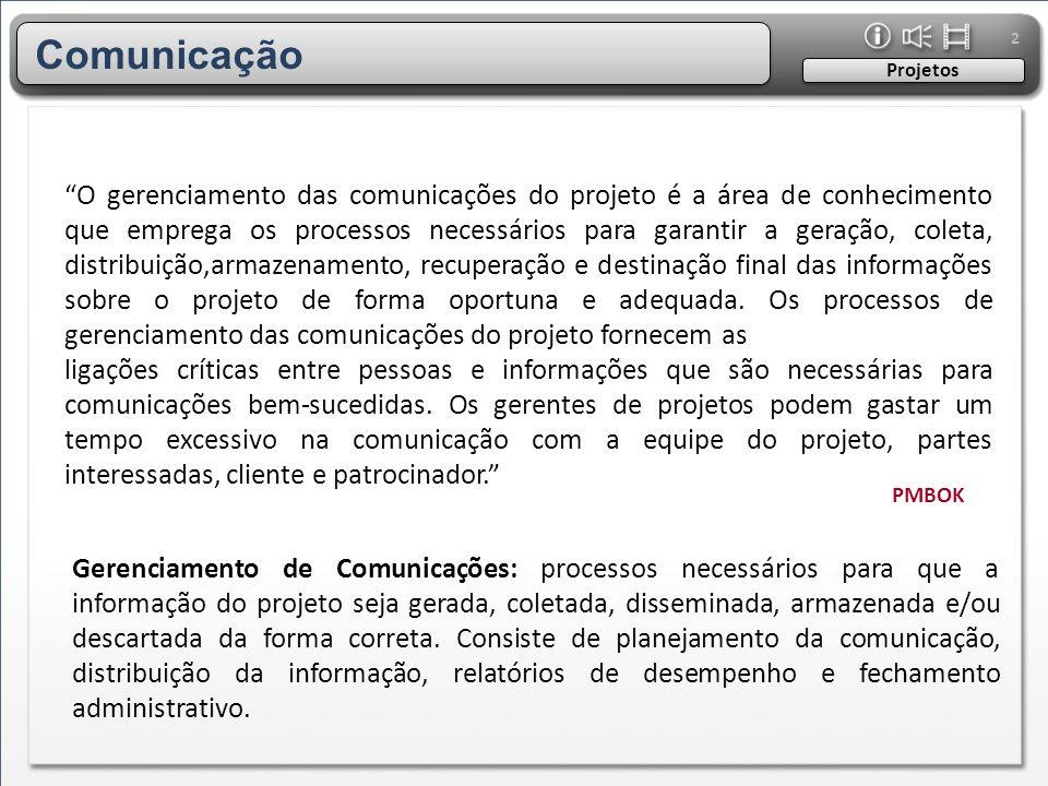 """2 """"O gerenciamento das comunicações do projeto é a área de conhecimento que emprega os processos necessários para garantir a geração, coleta, distribu"""