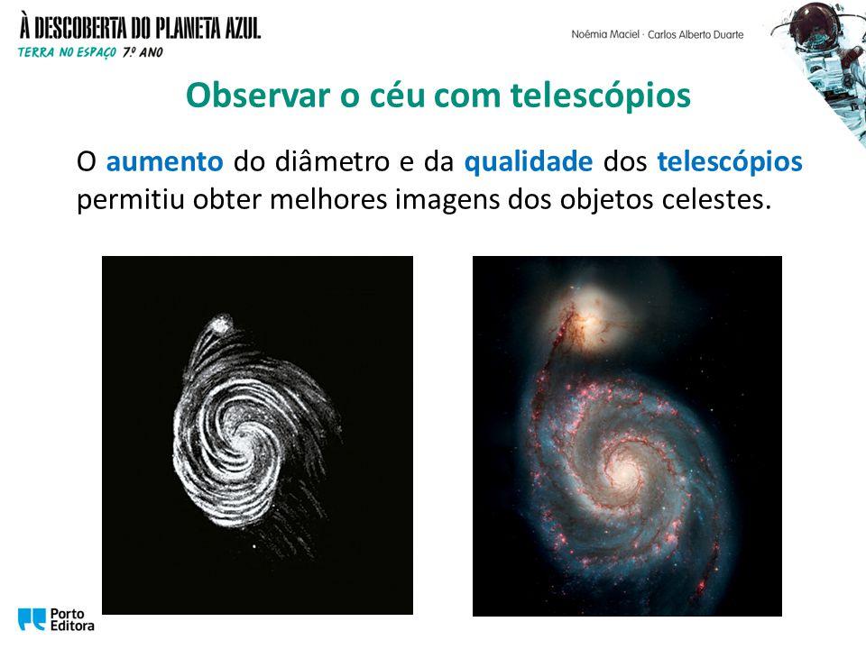 O aumento do diâmetro e da qualidade dos telescópios permitiu obter melhores imagens dos objetos celestes. Observar o céu com telescópios