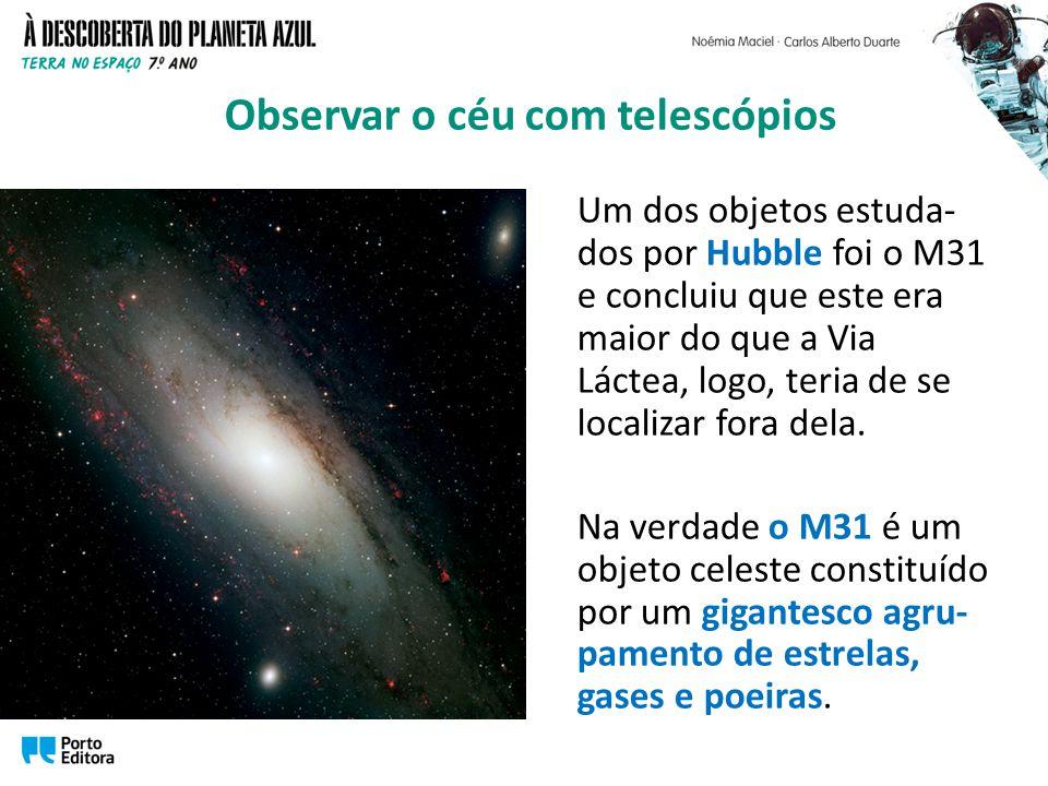 Um dos objetos estuda- dos por Hubble foi o M31 e concluiu que este era maior do que a Via Láctea, logo, teria de se localizar fora dela. Na verdade o