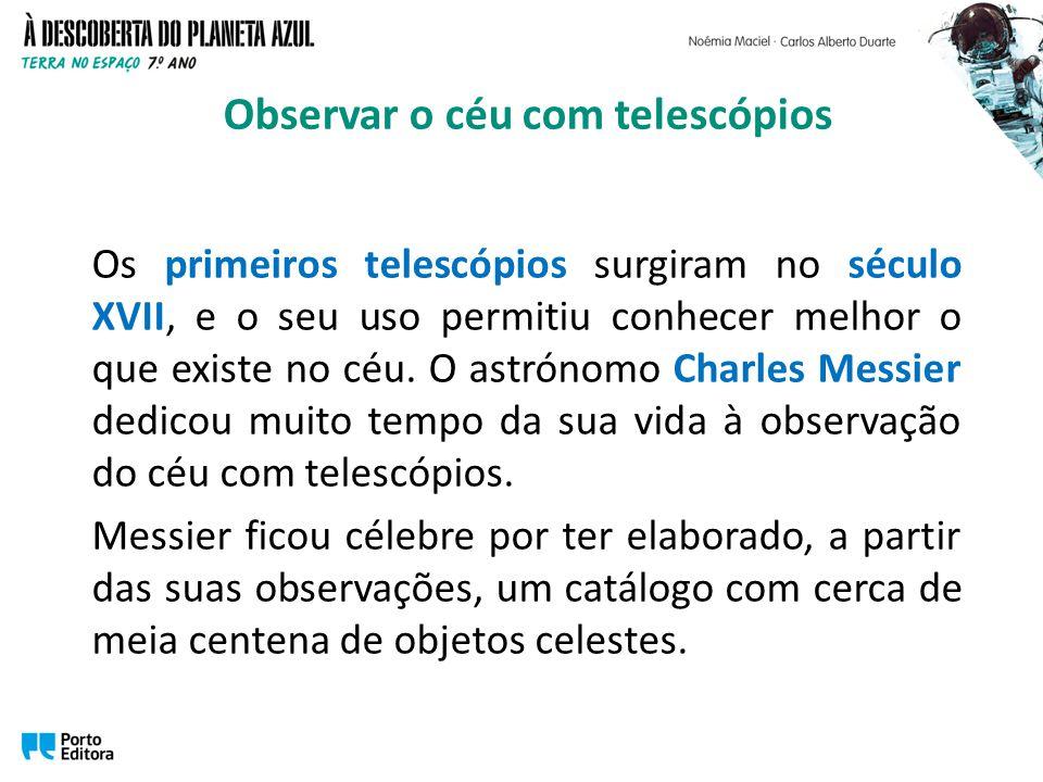 Os primeiros telescópios surgiram no século XVII, e o seu uso permitiu conhecer melhor o que existe no céu. O astrónomo Charles Messier dedicou muito
