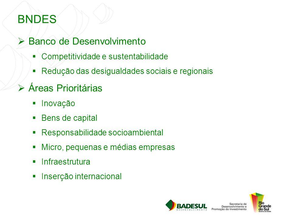 BNDES  Banco de Desenvolvimento  Competitividade e sustentabilidade  Redução das desigualdades sociais e regionais  Áreas Prioritárias  Inovação