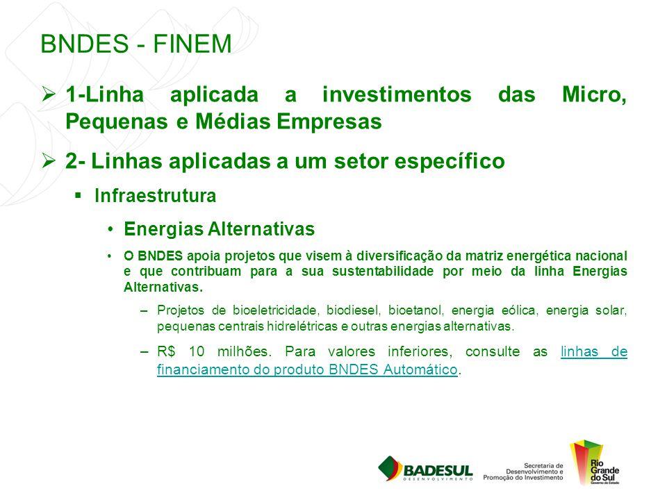 BNDES - FINEM  1-Linha aplicada a investimentos das Micro, Pequenas e Médias Empresas  2- Linhas aplicadas a um setor específico  Infraestrutura En