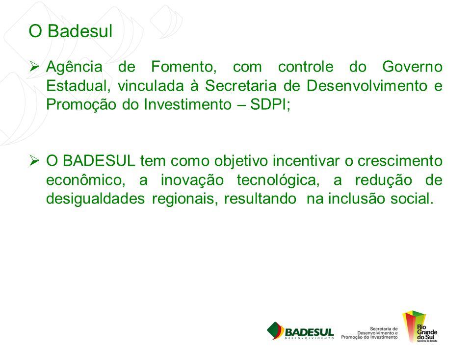 O Badesul  Agência de Fomento, com controle do Governo Estadual, vinculada à Secretaria de Desenvolvimento e Promoção do Investimento – SDPI;  O BAD