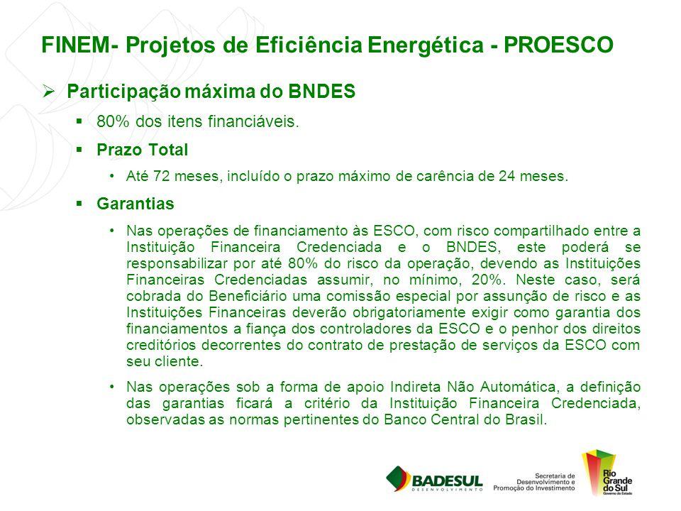 FINEM- Projetos de Eficiência Energética - PROESCO  Participação máxima do BNDES  80% dos itens financiáveis.  Prazo Total Até 72 meses, incluído o