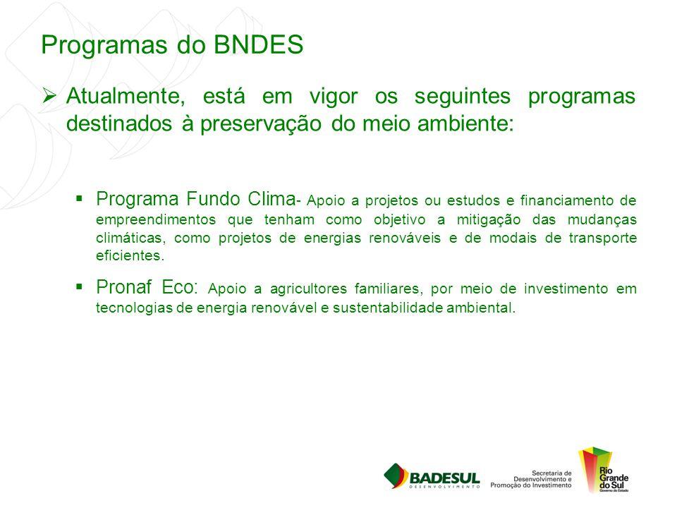 Programas do BNDES  Atualmente, está em vigor os seguintes programas destinados à preservação do meio ambiente:  Programa Fundo Clima - Apoio a proj