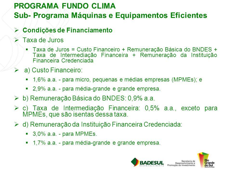 PROGRAMA FUNDO CLIMA Sub- Programa Máquinas e Equipamentos Eficientes  Condições de Financiamento  Taxa de Juros  Taxa de Juros = Custo Financeiro