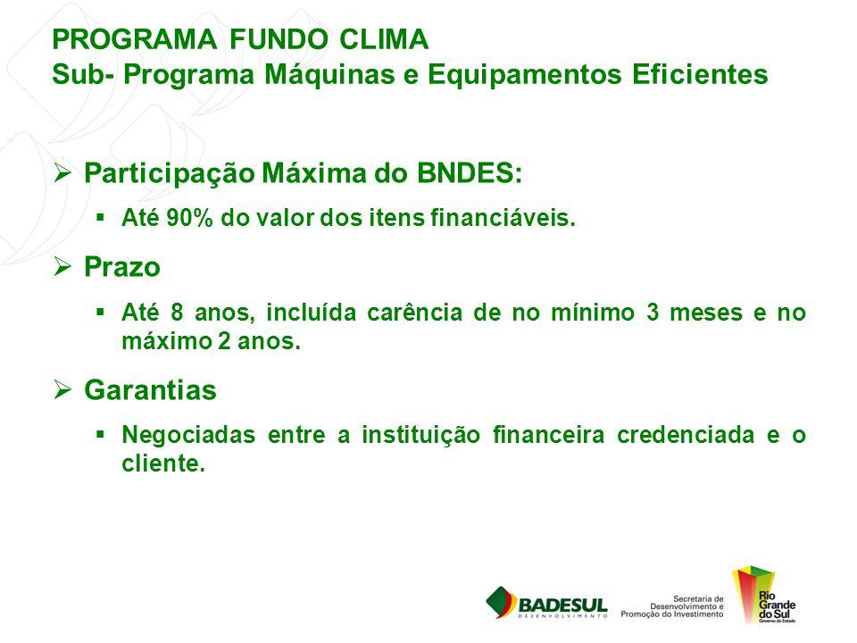 PROGRAMA FUNDO CLIMA Sub- Programa Máquinas e Equipamentos Eficientes  Participação Máxima do BNDES:  Até 90% do valor dos itens financiáveis.  Pra
