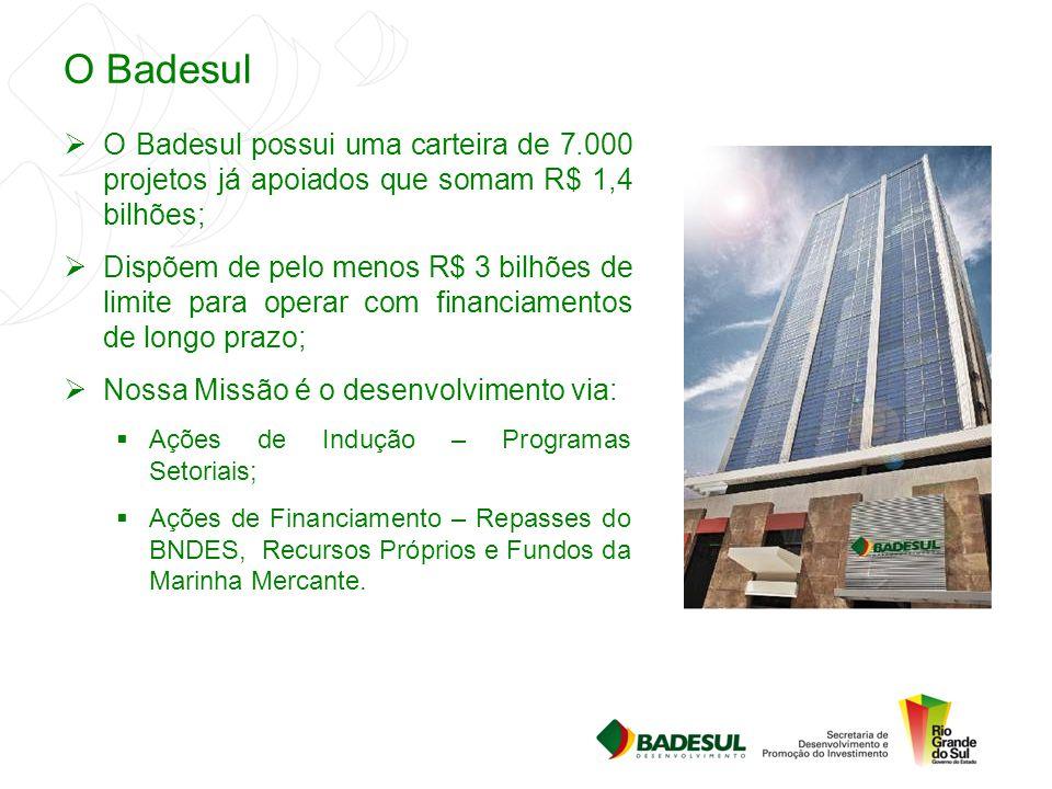 O Badesul  O Badesul possui uma carteira de 7.000 projetos já apoiados que somam R$ 1,4 bilhões;  Dispõem de pelo menos R$ 3 bilhões de limite para