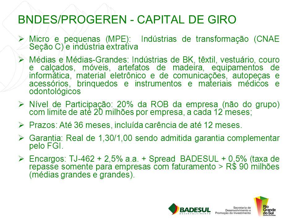 BNDES/PROGEREN - CAPITAL DE GIRO  Micro e pequenas (MPE): Indústrias de transformação (CNAE Seção C) e indústria extrativa  Médias e Médias-Grandes: