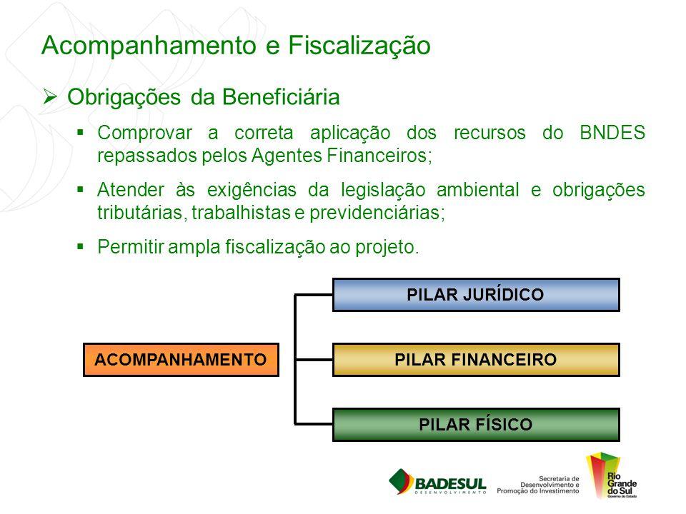 Acompanhamento e Fiscalização  Obrigações da Beneficiária  Comprovar a correta aplicação dos recursos do BNDES repassados pelos Agentes Financeiros;