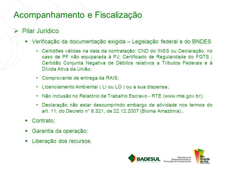 Acompanhamento e Fiscalização  Pilar Jurídico  Verificação da documentação exigida – Legislação federal e do BNDES Certidões válidas na data da cont