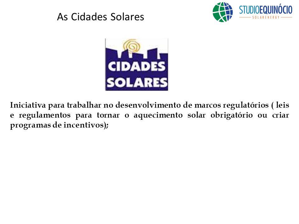 As Cidades Solares Iniciativa para trabalhar no desenvolvimento de marcos regulatórios ( leis e regulamentos para tornar o aquecimento solar obrigatório ou criar programas de incentivos);