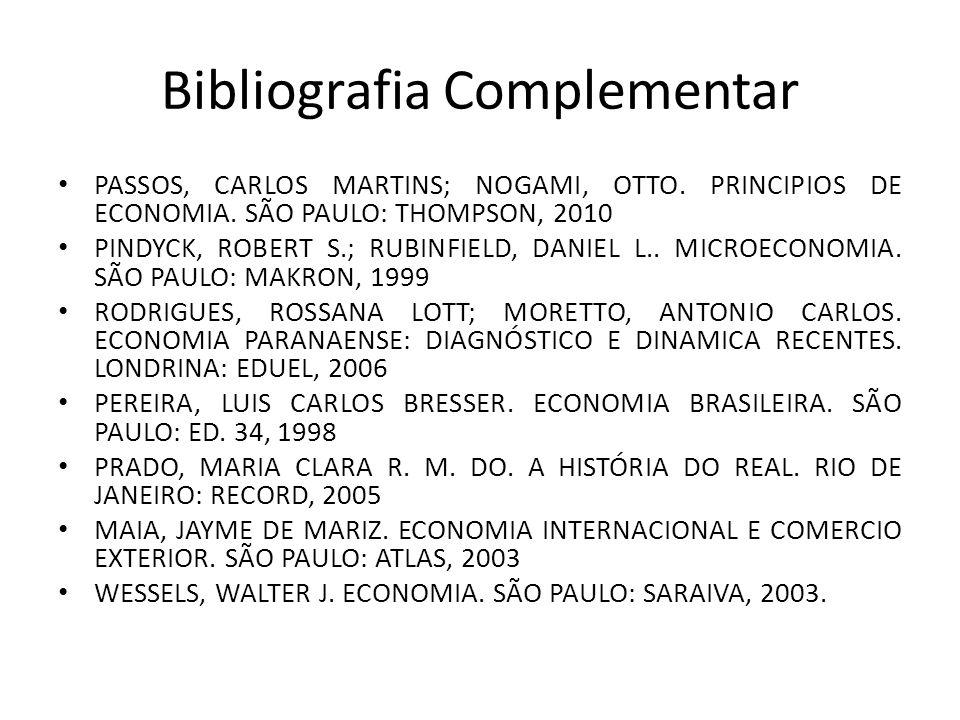 Bibliografia Complementar PASSOS, CARLOS MARTINS; NOGAMI, OTTO. PRINCIPIOS DE ECONOMIA. SÃO PAULO: THOMPSON, 2010 PINDYCK, ROBERT S.; RUBINFIELD, DANI