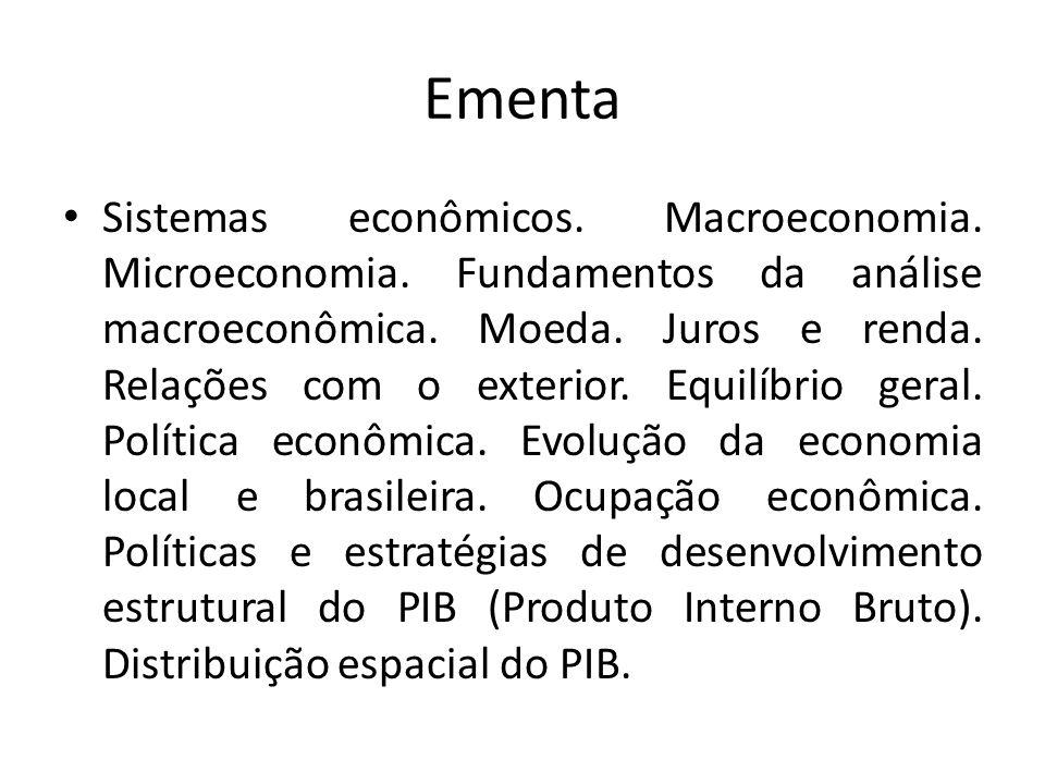 Ementa Sistemas econômicos. Macroeconomia. Microeconomia. Fundamentos da análise macroeconômica. Moeda. Juros e renda. Relações com o exterior. Equilí